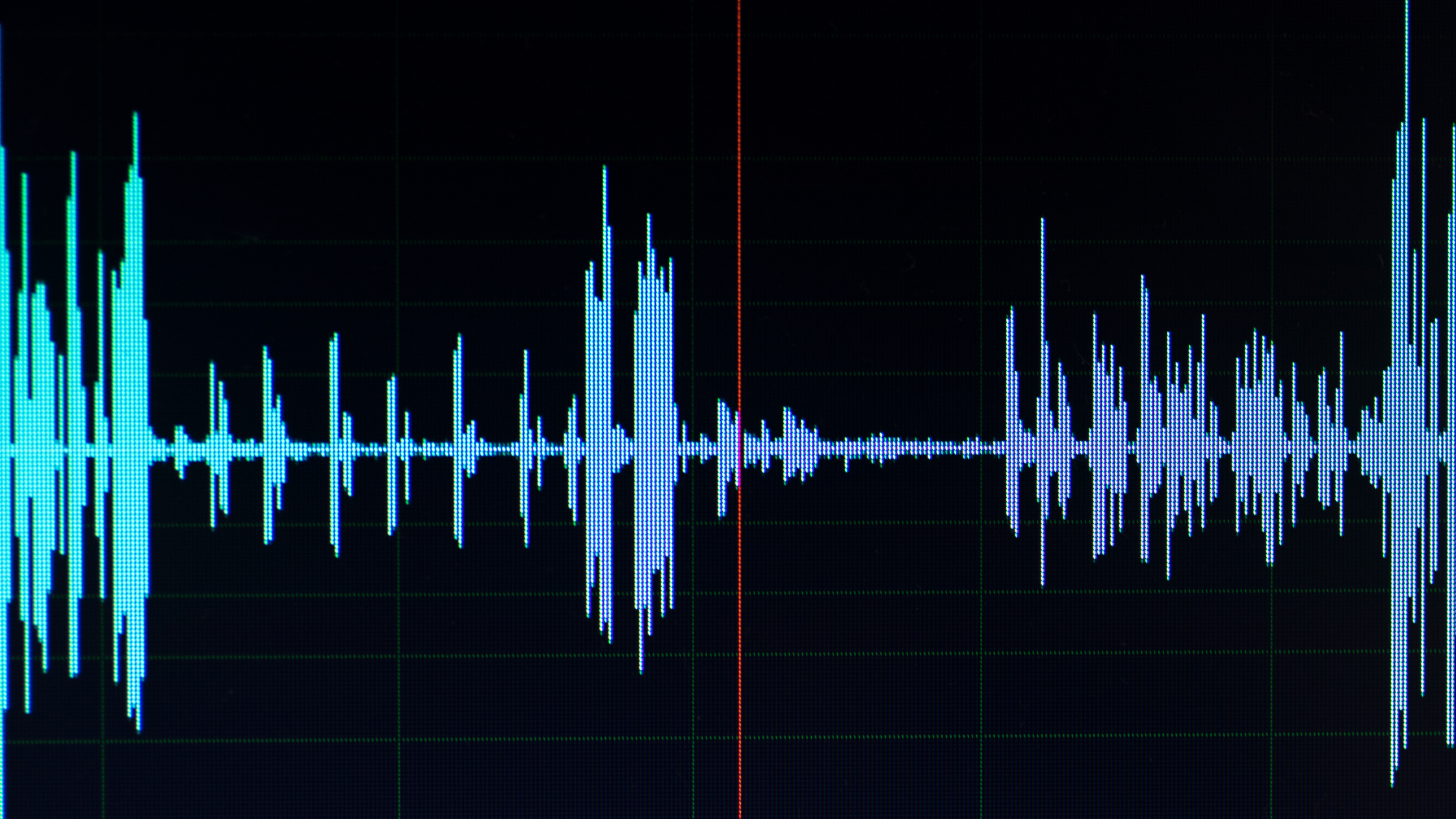 audio wave shown on a computer screen in audio editing software